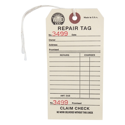 WALD PRODUCTS #700 Repair Tags